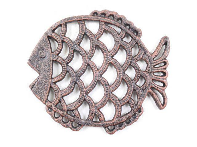 Rustic Copper Cast Iron Big Fish Trivet 8