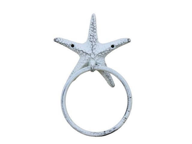Rustic Whitewashed Cast Iron Starfish Towel Holder 8.5