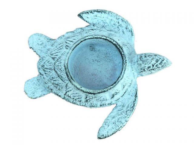 Dark Blue Whitewashed Cast Iron Turtle Decorative Tealight Holder 4.5