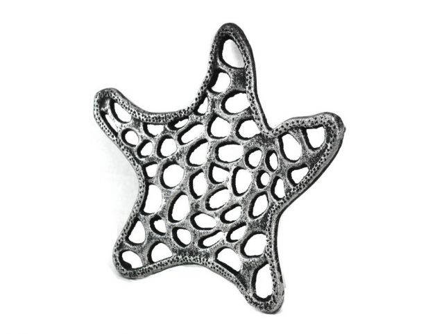 Antique Silver Cast Iron Starfish Trivet 7