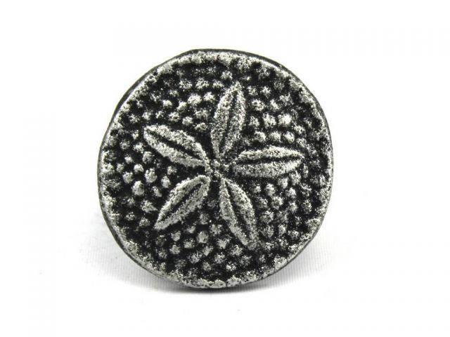 Antique Silver Cast Iron Sand Dollar Napkin Ring 2 - set of 2