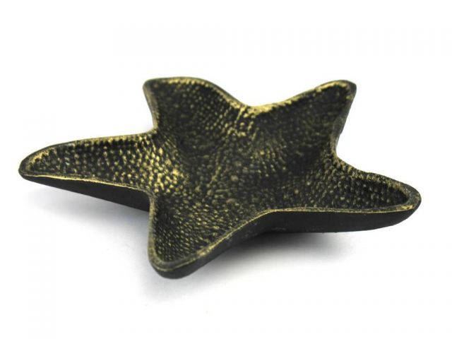 Antique Gold Cast Iron Starfish Decorative Bowl 8