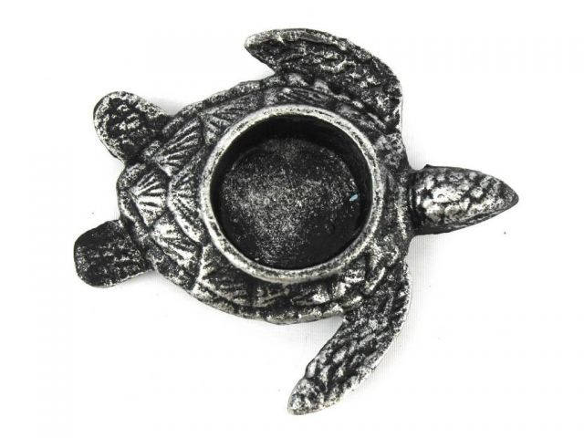 Antique Silver Cast Iron Turtle Decorative Tealight Holder 4.5