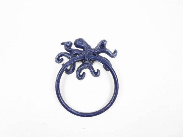 Rustic Dark Blue Cast Iron Octopus Towel Holder 6