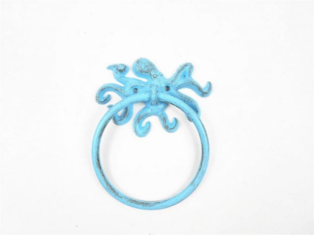 Rustic Light Blue Cast Iron Octopus Towel Holder 6