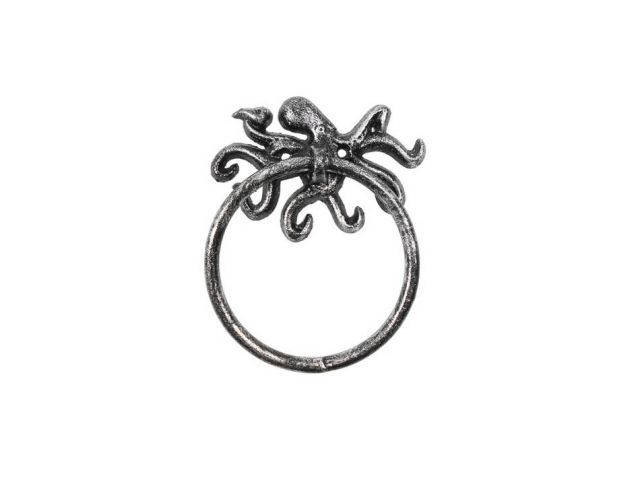 Rustic Silver Cast Iron Octopus Towel Holder 6