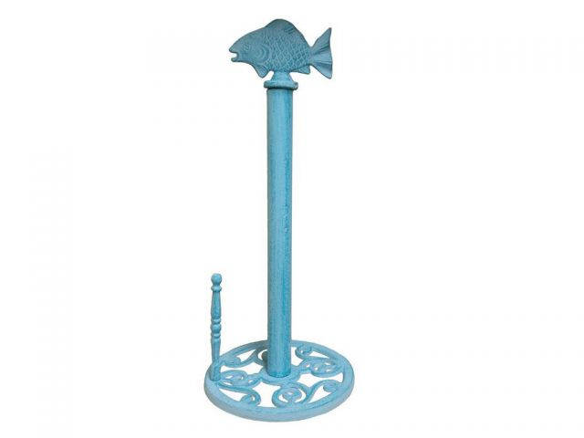 Rustic Light Blue Whitewashed Cast Iron Fish Paper Towel Holder 15