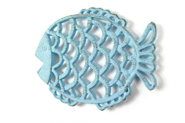 Rustic Light Blue Cast Iron Big Fish Trivet 8