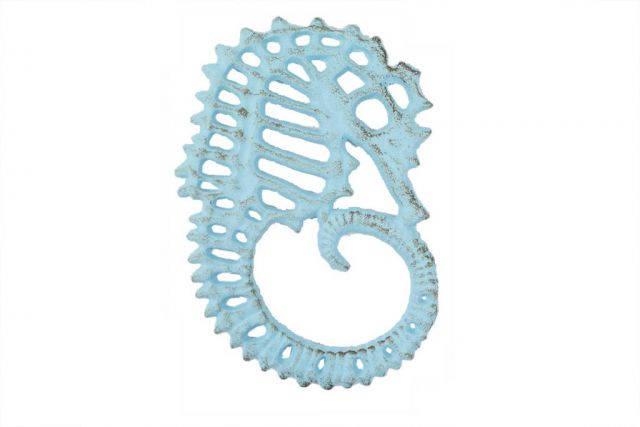 Rustic Light Blue Cast Iron Seahorse Trivet 6