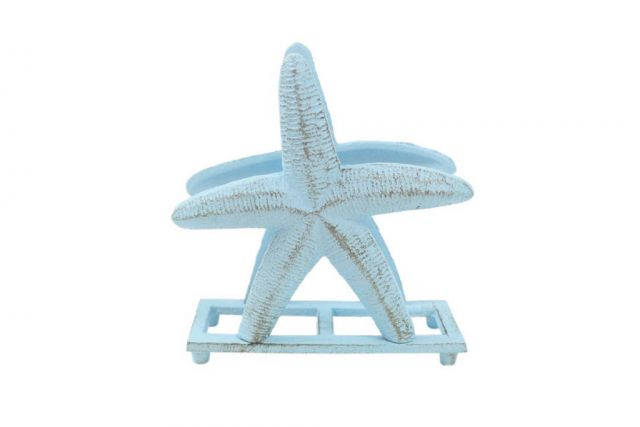 Rustic Light Blue Cast Iron Starfish Napkin Holder 6