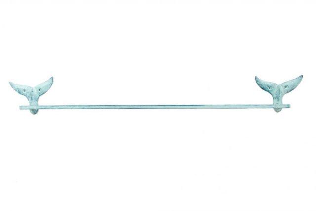 Rustic Dark Blue Whitewashed Cast Iron Whale Tail Bath Towel Holder 28