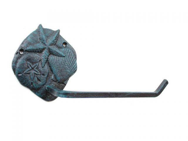 Seaworn Blue Cast Iron Shell Sand Dollar Starfish Toilet Paper Holder 10