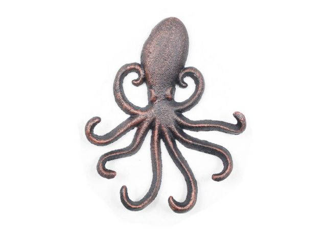 Rustic Copper Cast Iron Wall Mounted Decorative Octopus Hooks 7