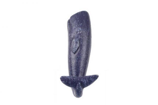 Rustic Dark Blue Cast Iron Whale Hook 6