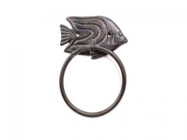Cast Iron Decorative Angel Fish Towel Holder 6.5