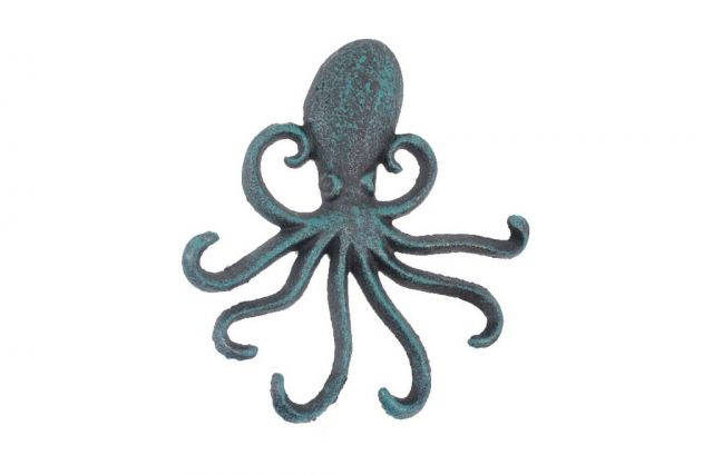 Seaworn Blue Cast Iron Wall Mounted Decorative Octopus Hooks 7