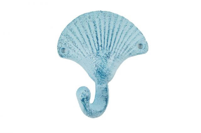 Rustic Dark Blue Whitewashed Cast Iron Seashell Hook 6