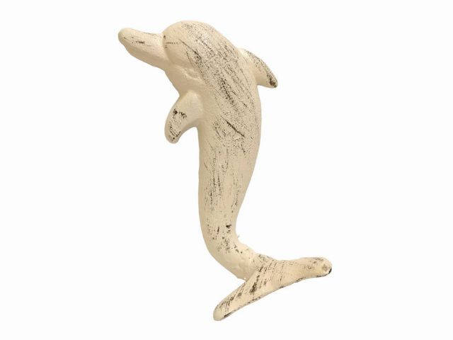 Aged White Cast Iron Dolphin Hook 7