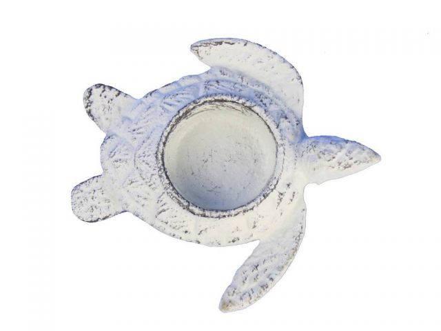 Whitewashed Cast Iron Turtle Decorative Tealight Holder 4.5