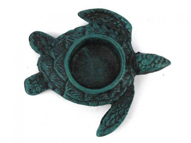 Seaworn Blue Cast Iron Turtle Decorative Tealight Holder 4.5