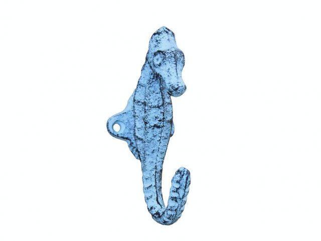 Rustic Dark Blue Whitewashed Cast Iron Decorative Seahorse Hook 5