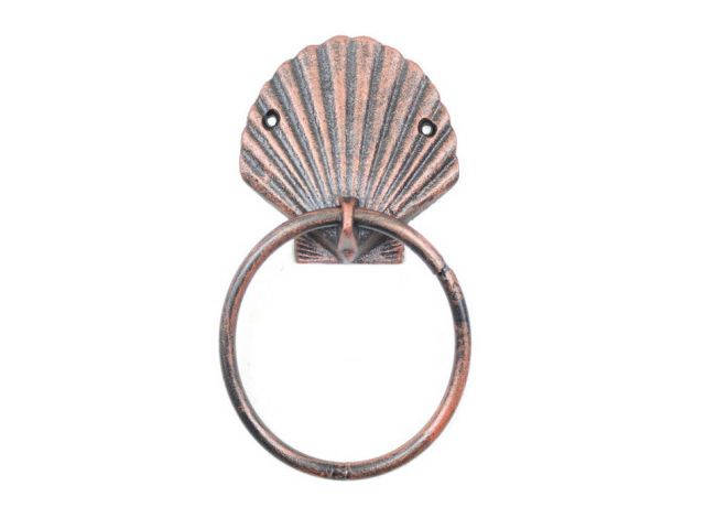 Rustic Copper Cast Iron Seashell Towel Holder 8.5