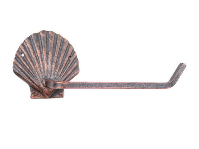Rustic Copper Cast Iron Shell Toilet Paper Holder 10