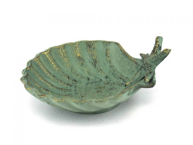 Antique Bronze Cast Iron Shell With Starfish Decorative Bowl 6