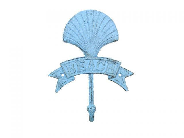 Rustic Light Blue Cast Iron Seashell Beach Hook 8