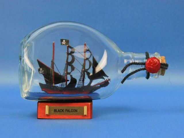 Captain Kiddandapos;s Black Falcon Pirate Ship in a Bottle 7