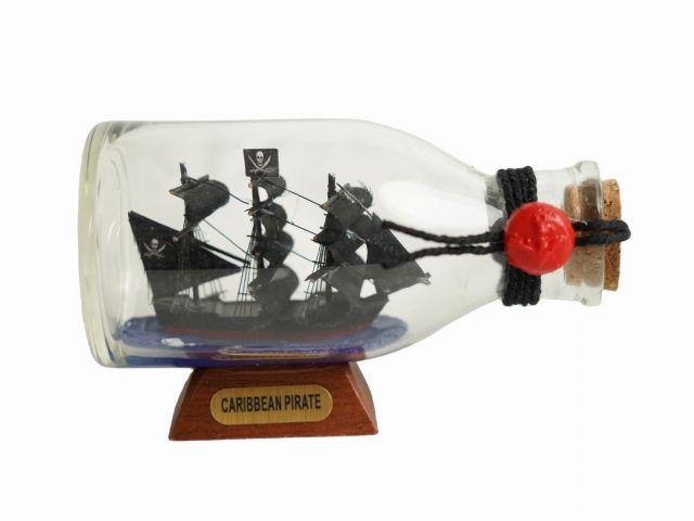 Caribbean Pirate Model Ship in a Glass Bottle 5