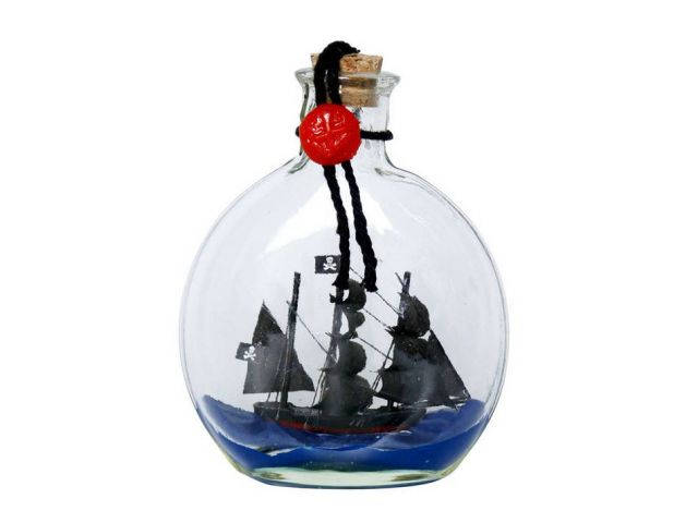 Caribbean Pirate Model Ship in a Glass Bottle 4