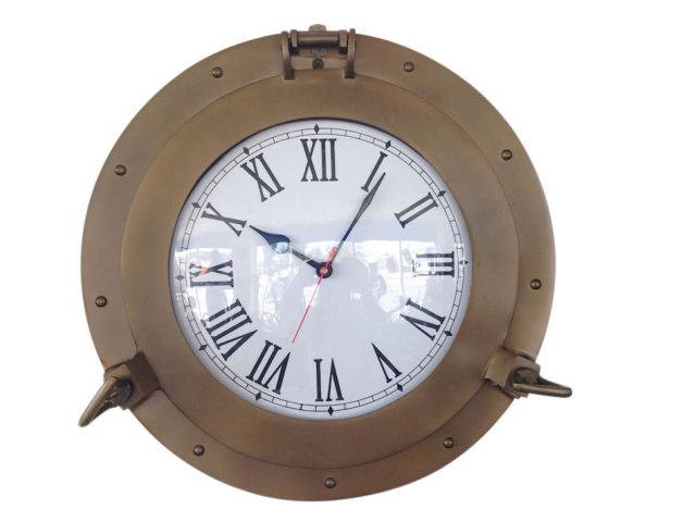 Antique Brass Decorative Ship Porthole Clock 15