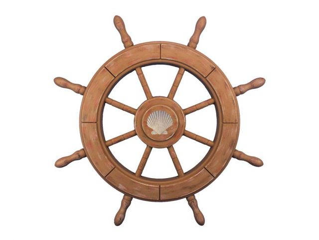 Rustic Wood Finish Decorative Ship Wheel With Seashell 24