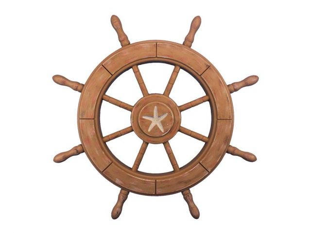 Rustic Wood Finish Decorative Ship Wheel With Starfish 24