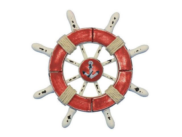 Rustic Red and White Decorative Ship Wheel With Anchor 6