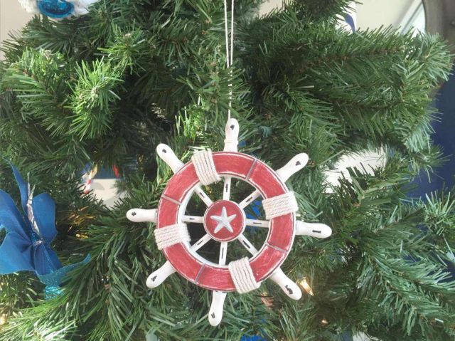 Rustic Red and White Decorative Ship Wheel With Starfish Christmas Tree Ornament 6