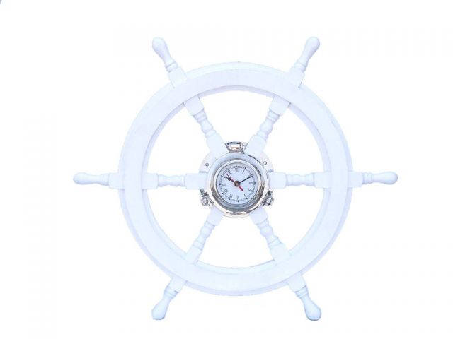 Deluxe Class White Wood and Chrome Pirate Ship Wheel Clock 24