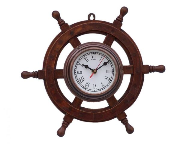 Deluxe Class Wood and Antique Copper Ship Steering Wheel Clock 12