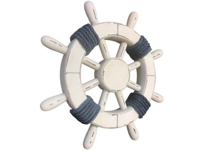 Rustic White Decorative Ship Wheel with Dark Blue Rope 12