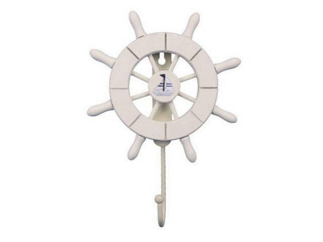White Decorative Ship Wheel with Sailboat and Hook 8