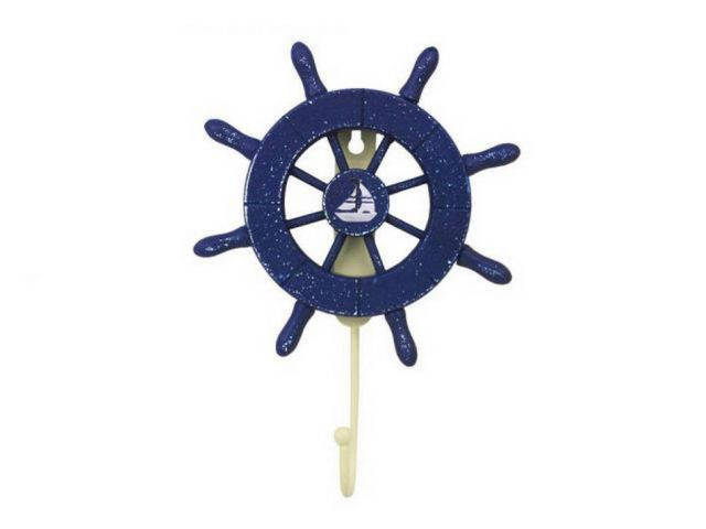 Rustic All Dark Blue Decorative Ship Wheel with Sailboat and Hook 8