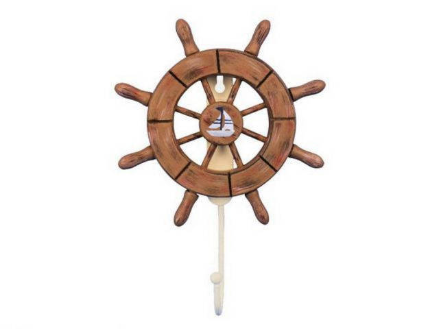 Rustic Wood Finish Decorative Ship Wheel with Sailboat and Hook 8