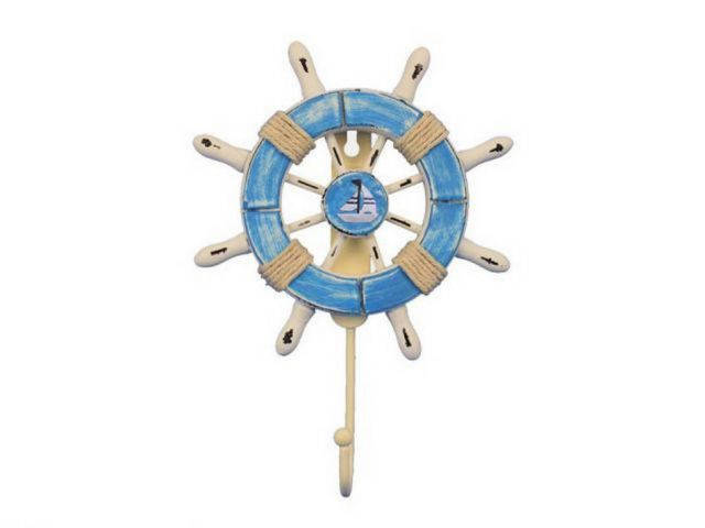 Rustic Light Blue and White Decorative Ship Wheel with Sailboat and Hook 8