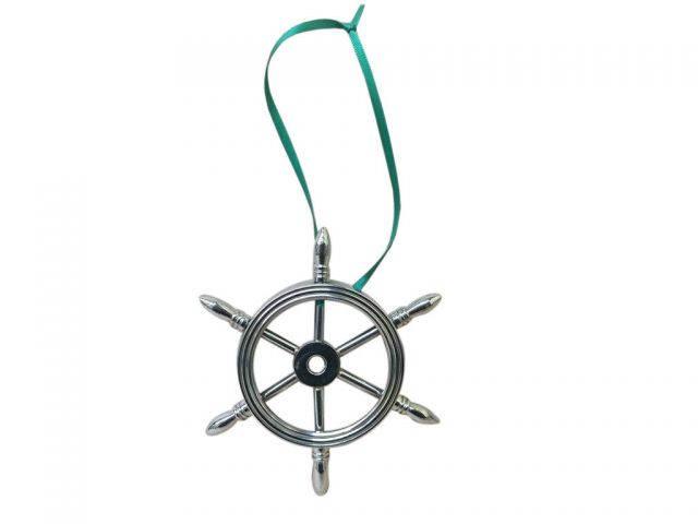 Chrome Ship Wheel Christmas Ornament 6