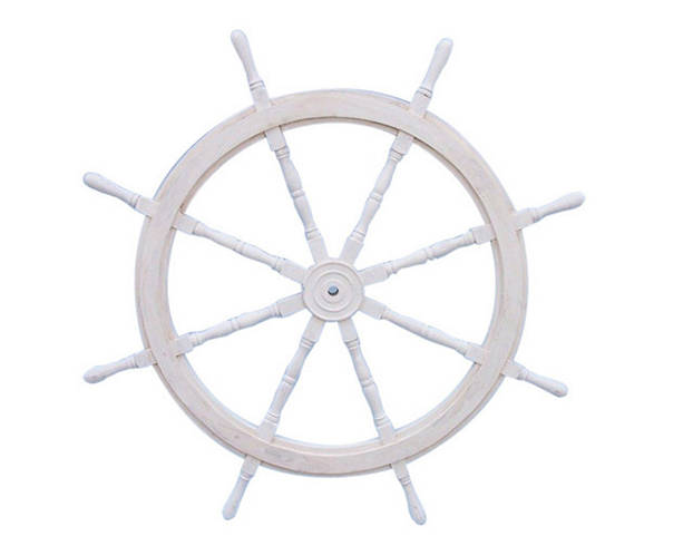 Classic Wooden Whitewashed Decorative Ship Steering Wheel 60