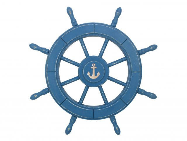 Rustic All Light Blue Decorative Ship Wheel With Anchor 24
