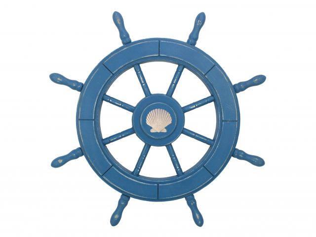 Rustic All Light Blue Decorative Ship Wheel With Seashell 24
