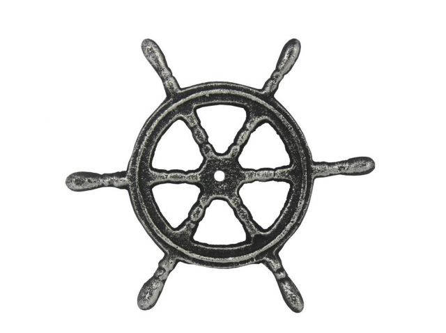 Antique Silver Cast Iron Ship Wheel Trivet 6