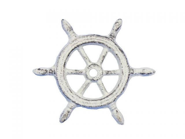 Whitewashed Cast Iron Ship Wheel Decorative Paperweight 4